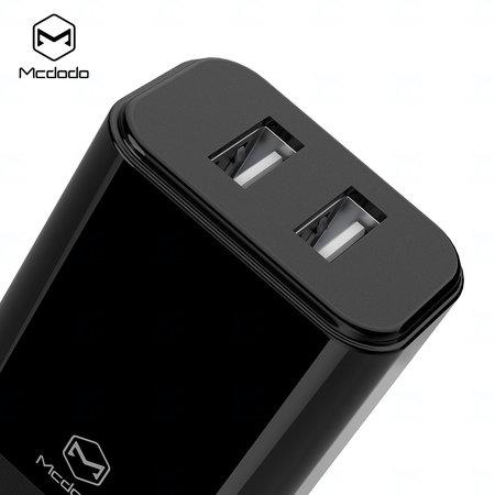 Mcdodo nabíječka 220V, 2x USB, 2.4A, bez kabelu, černá