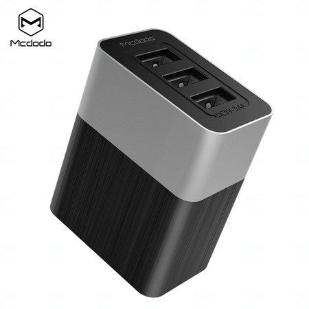 Mcdodo nabíječka Cube serie 220V, EU / US / UK zásuvka, 3x USB, 3.4A, bez kabelu, černá